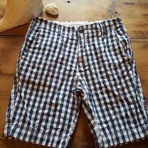 Boys sz 10 a&f kids shorts navy/white check